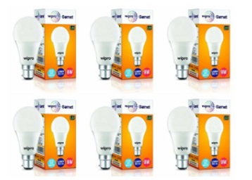 Get Wipro Garnet Base B22 9-Watt LED Bulb (Pack of 6) at Rs.582 discount deal