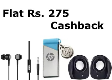 Loot:- Flat Rs. 275 Cashback on Headphones, Powerbank & Mobile Accessories discount deal