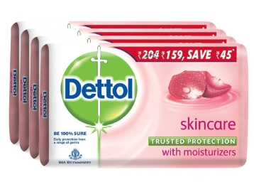 Dettol Skincare Soap, 125g (Pack of 4) at Rs. 117 discount deal