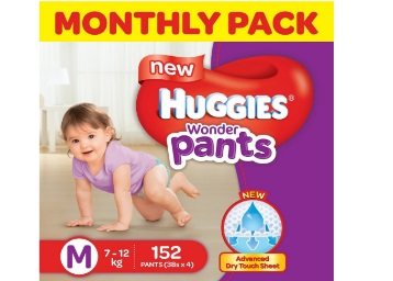 Extra 15% Code:- Huggies Wonder Pants Monthly Pack (152 Count) at 40% off discount deal