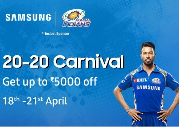 Samsung 20-20 Carnival:- Up to Rs. 5000 off + Big Exchange Offers low price