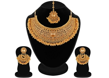 Apara Bridal Gold Plated Pearl Stones Necklace Set at Flat 94% OFF low price