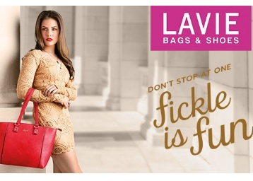 Min. 60% off:- Lavie Handbags & Shoes Range + Rs. 50 Cashback discount deal