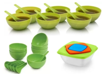 Ranveer trading Plastic Bowl Set Green, Pack of 6 at Flat 88% OFF low price