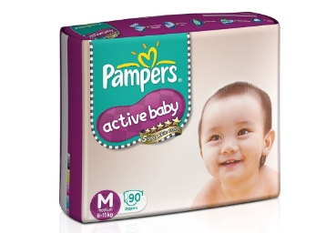 Pampers Active Baby Diapers Taped Medium Size (90 Pieces) at 38% Off low price