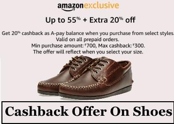Cashback offer on shoes :- Upto 55% off + Extra 20% Cashback low price