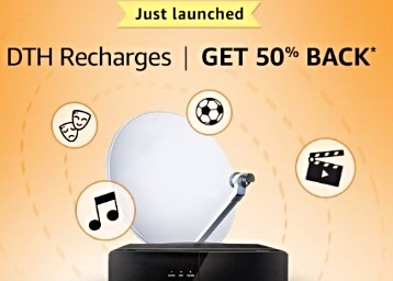 All Users – Get 50% Cashback Up To Rs. 100 On All DTH Recharges low price