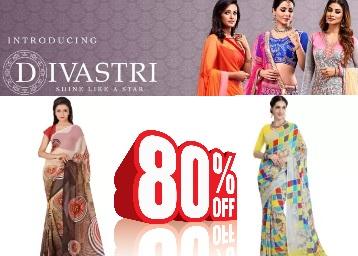 Steal : Divastri Sarees Min 70% off + 15% Cashback discount deal