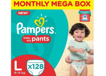 Biggest Discount:- Pampers Large Monthly Box (128 Count) at Rs. 828 discount deal