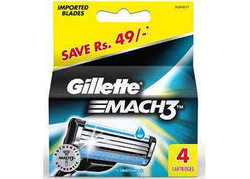 Gillette Mach 3 Turbo Cartridges (Pack of 4) at Rs.378 discount deal