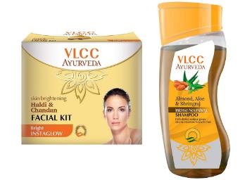 Price Down: VLCC Haldi Chandan Facial Kit and Ayurveda Shampoo Combo At Rs.91 discount deal