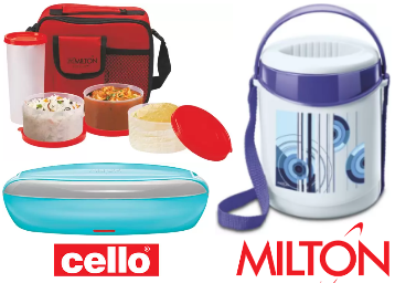 Milton & Cello Lunch Box Start at Rs.136 + FREE SHIPPING low price