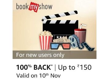 [10th Nov Only] BookMyShow 100% cashback up to Rs 150 with Pay Balance