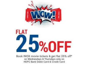 26ea2951bcf ... Flat 25% off on INOX Movie ticket Every wednesday and Thursday.  Freekaamaal.com