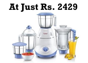 {61% Claimed} Prestige Iris 750 W 4 Jar Juicer Mixer Grinder at Flat 46% Off + 10% Cashback discount deal