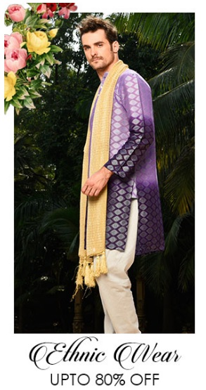 Upto 80% off on Men's Ethnic wear + extra 25% off on Online Payment low price