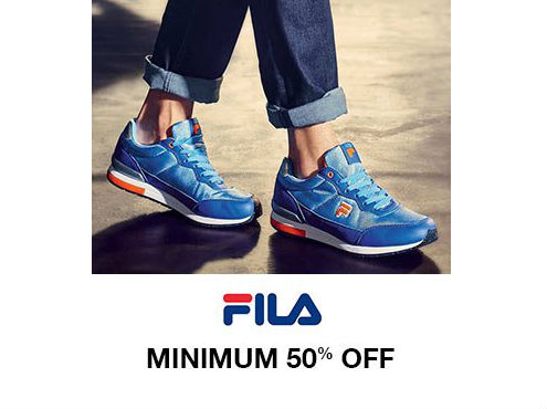 Flat 50% off on Fila Shoes + Free Shipping discount offer
