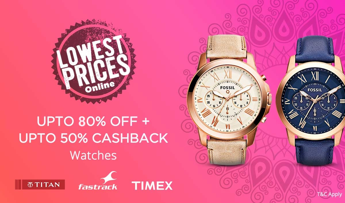 Upto 80% off +Upto 50% Cashback on Top Branded Watches discount offer