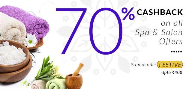 Get 70% Cashback on All Spa & Salons discount offer