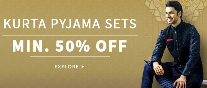 Get FLAT 50% – 70% off on Men's Kurta Pyjama Sets low price