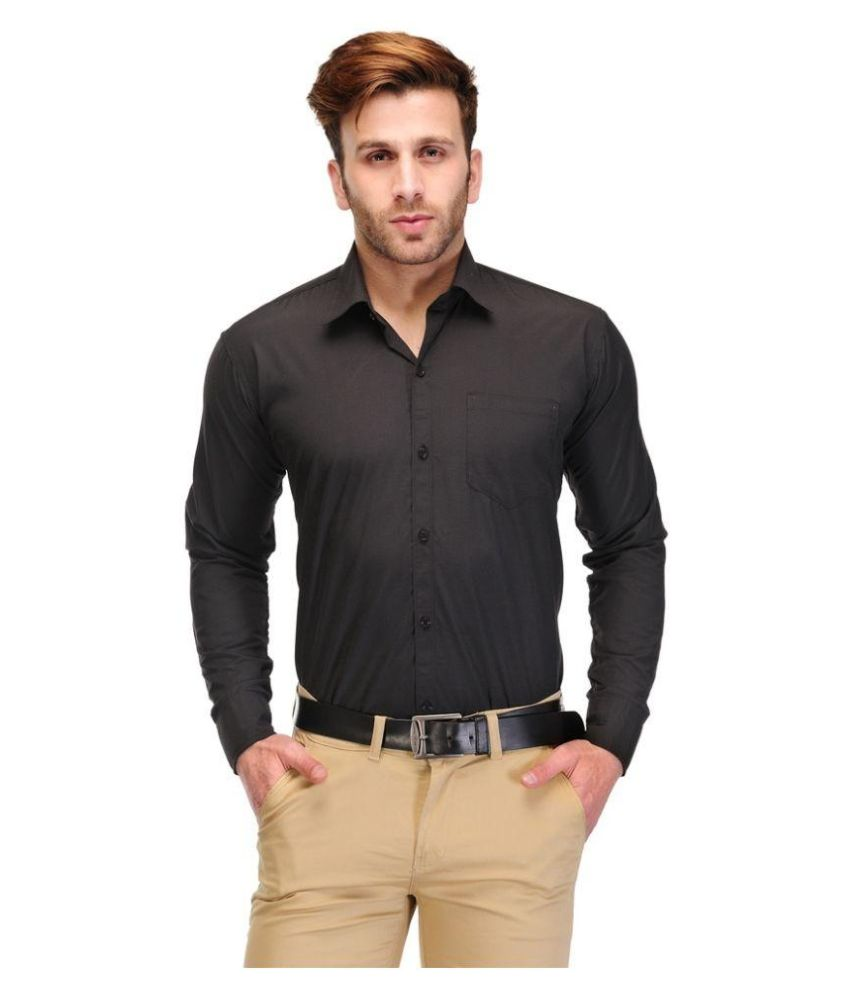 Unique For Men Black Formal Slim Fit Shirt at Just Rs. 179 + 10% Off + FREE Shipping low price