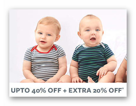 Upto 40% Off + Extra 20% OFF* on Entire Carter's Range discount offer
