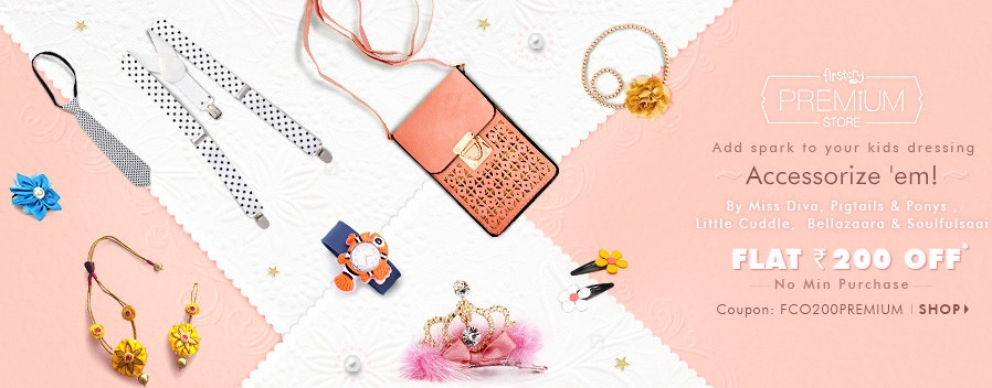 Get FLAT Rs. 200 off on Kids Premium Accessories discount offer