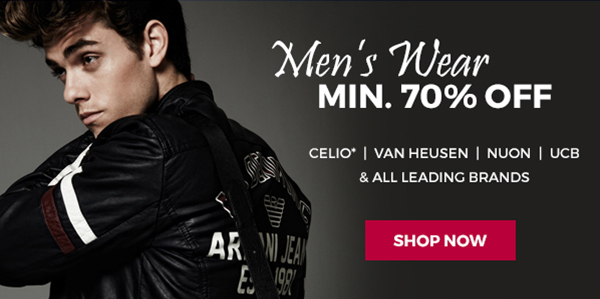 Get Minimum 70% off on Men's Wear + Free Shipping discount offer