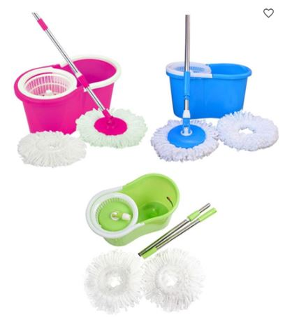 Get Skycandle Bucket Mop With 2 head mop refill At FLAT 65% Off discount offer