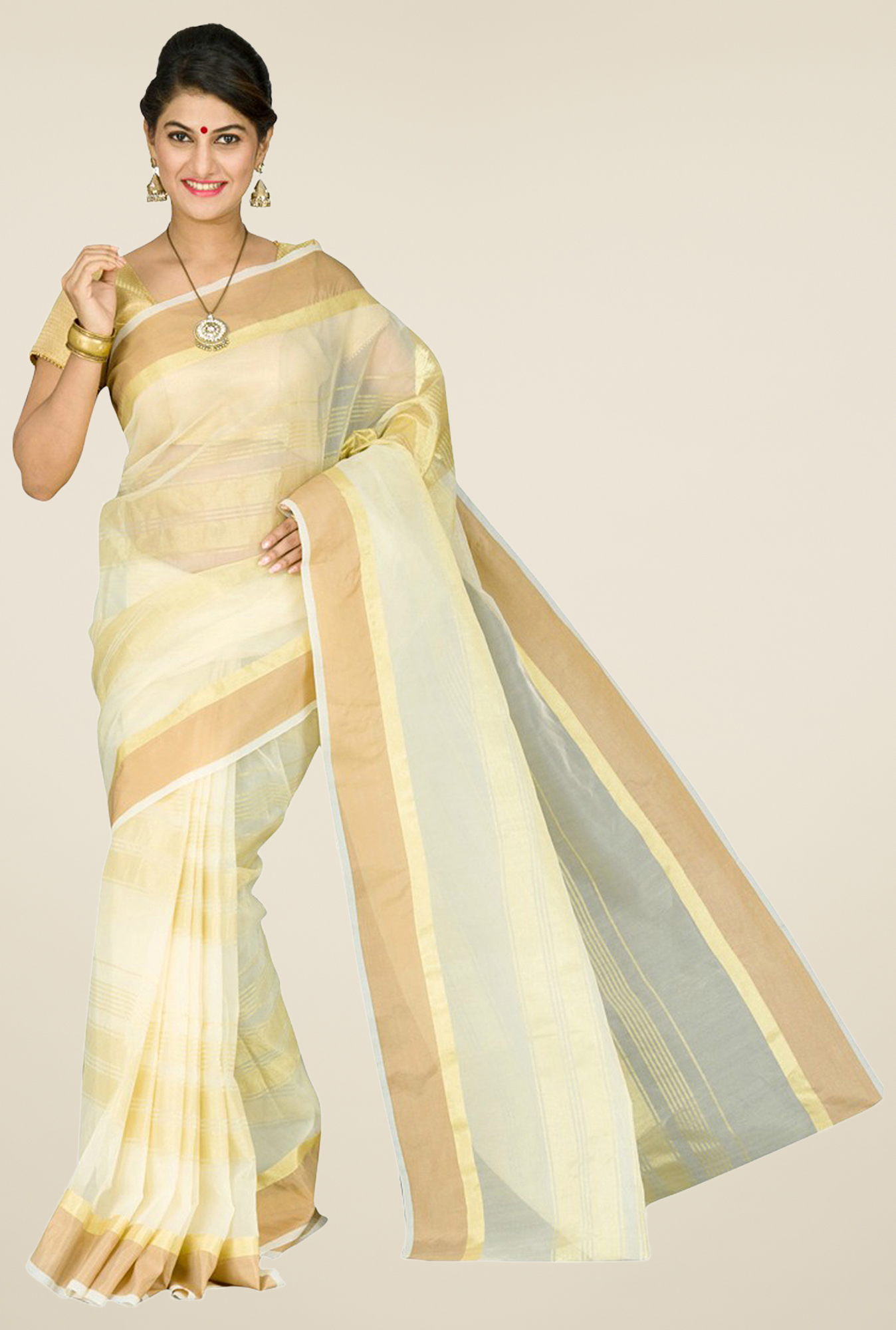 Pavecha's Beige Banarasi Cotton Silk Saree at Just Rs. 499 discount offer
