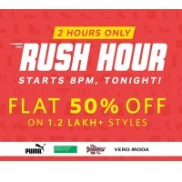 Myntra Rush Hour – Flat 50% OFF On 1.2 Lakh+ Products discount offer
