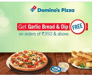 Grab A Free Garlic Bread & Dip On Orders Above Rs. 350 discount offer