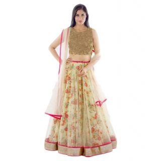 Multicolour Bhagalpuri Silk Printed Wedding Wear Lehenga Choli at 88% OFF discount offer
