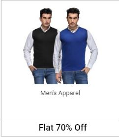 Buy Mens Apparel at Flat 70% Off discount offer
