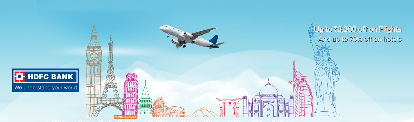 {Upcoming} Up to Rs.3,000 off on Flights And up to 70% off on hotels discount offer