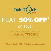 Firstcry Tick Tock Sale – Get Flat 50% OFF on Toys + Extra 6% CASHBACK discount offer