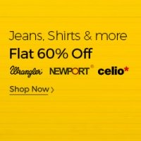 Get Flat 60% Off on Wrangler, Newport, Celio Clothing discount offer