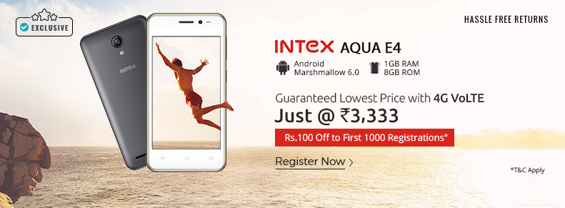 Shopclues Exclusive – Lowest Price 4G VoLTE Intex Aqua E4 at Just Rs. 3333 + More Offers discount offer