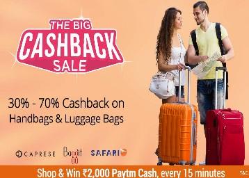Big Cashback Sale – Luggages & Handbags 30-70% Cashback discount offer