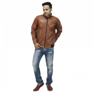 Swaggy Stylish Tan Rexine Jacket at Flat 83% OFF + Extra 10% OFF discount offer