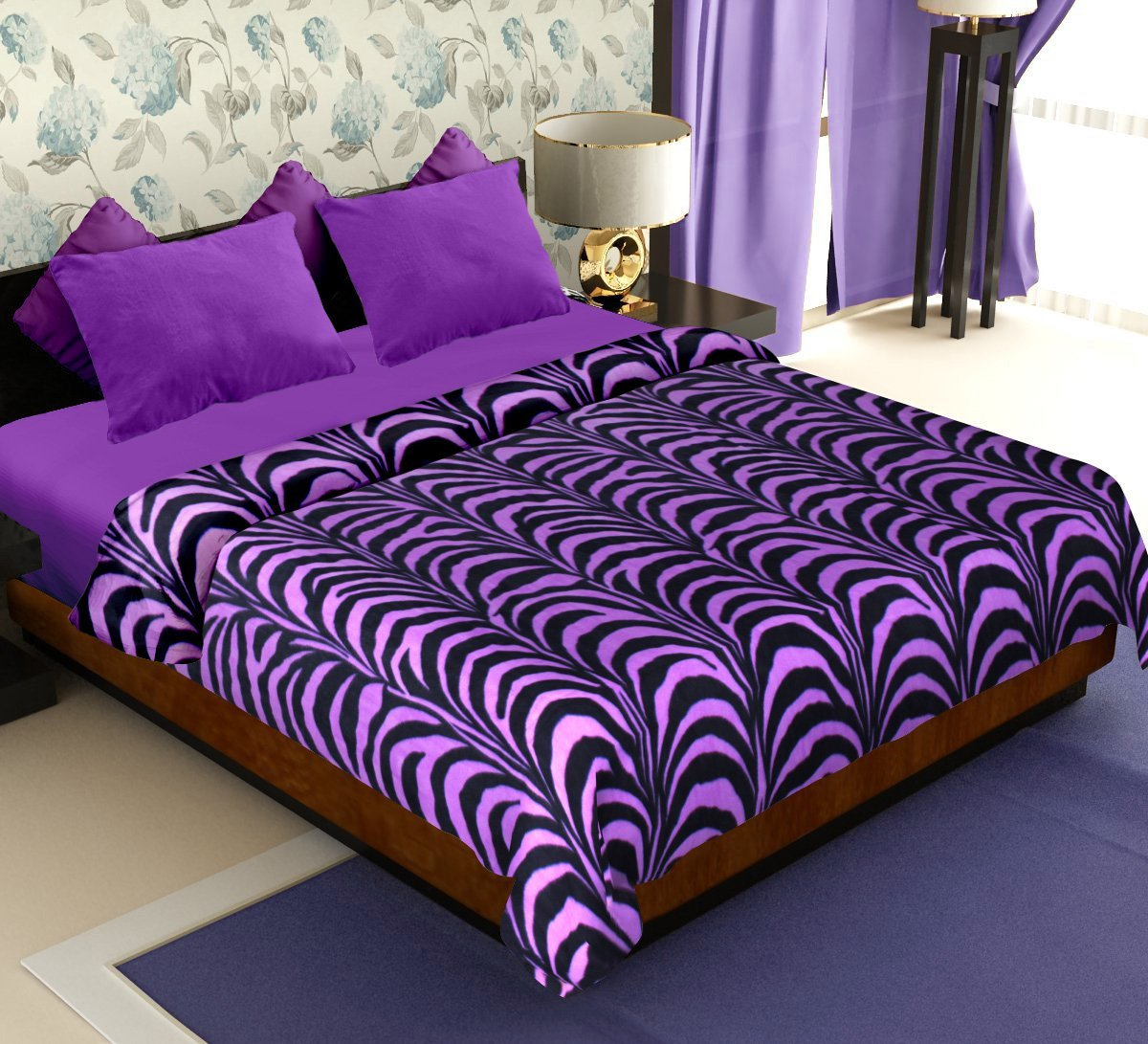 Get Story Polyester Double Blanket – Purple at FLAT 80% Off discount offer