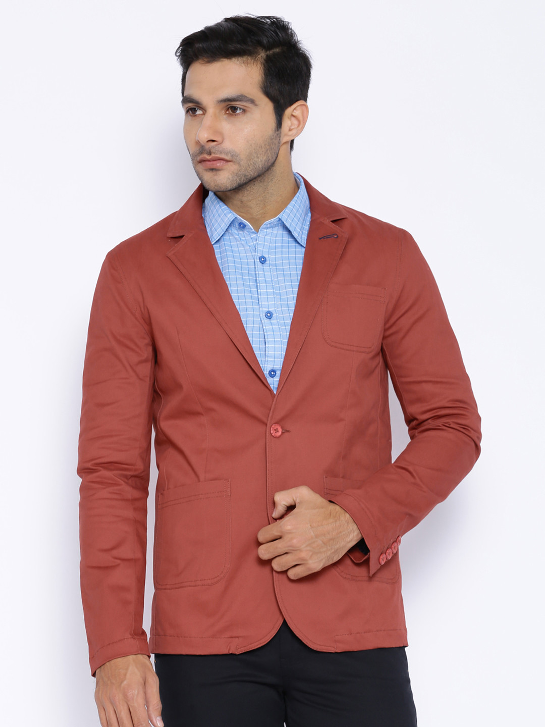 The Indian Garage Co. Brick Red Blazer at FLAT 48% OFF discount offer