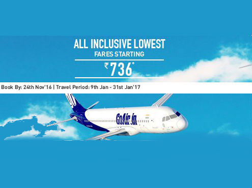 Go Air Flight Offer – All Inclusive Airfare starting Rs.736 discount offer