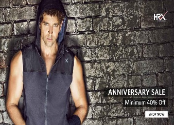 Anniversary Sale – Flat 40% Off On HRX Clothign & Accessories discount offer