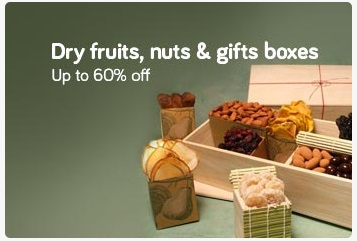 Get Upto 60% off on Dry fruits, Nuts and Gift Boxes discount offer