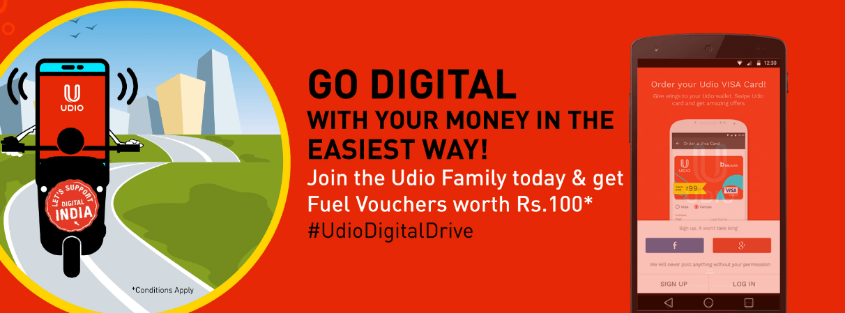 Udio Loot – Signup & Get Free Rs.100 Fuel Voucher discount offer