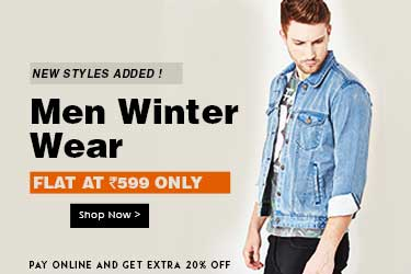 Men winter wear at Flat Rs. 599 + Extra 20% off paying online discount offer