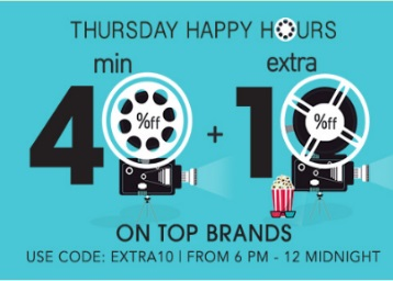 Thursday Happy Hours – Minimum 40% off + Extra 10% Off + 10% Cashback discount offer