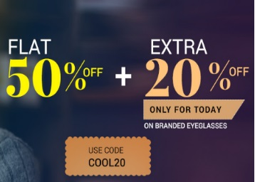 Flat 50% Off + Extra 20% Off On Branded Eyeglasses discount offer