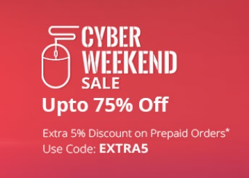 Cyber Weekend Sale – Upto 75% Off On Electronics + 5% Off discount offer
